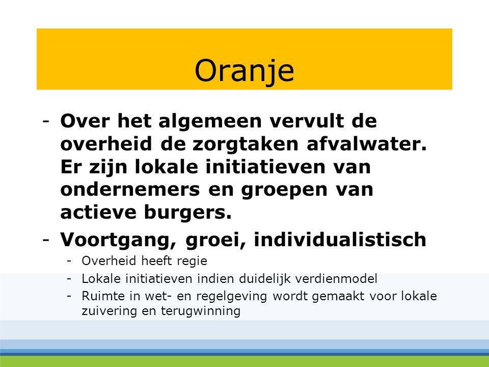 Oranje -Over het algemeen vervult de overheid de zorgtaken afvalwater.