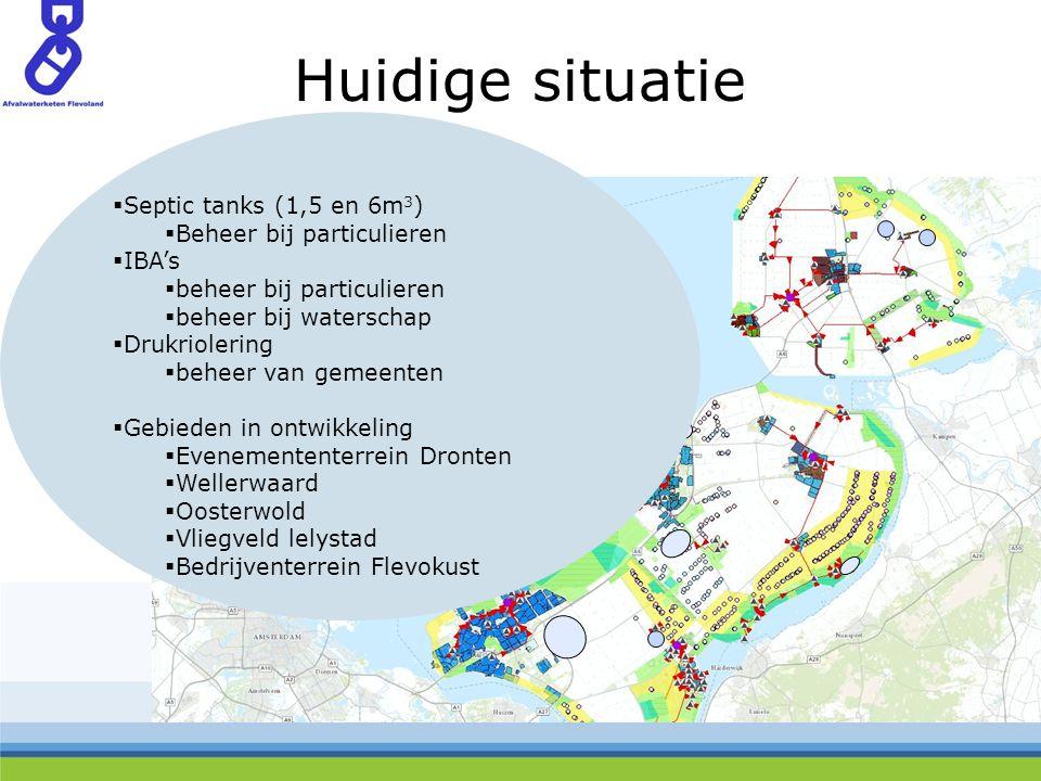 Huidige situatie  Septic tanks (1,5 en 6m 3 )  Beheer bij particulieren  IBA's  beheer bij particulieren  beheer bij waterschap  Drukriolering  beheer van gemeenten  Gebieden in ontwikkeling  Evenemententerrein Dronten  Wellerwaard  Oosterwold  Vliegveld lelystad  Bedrijventerrein Flevokust