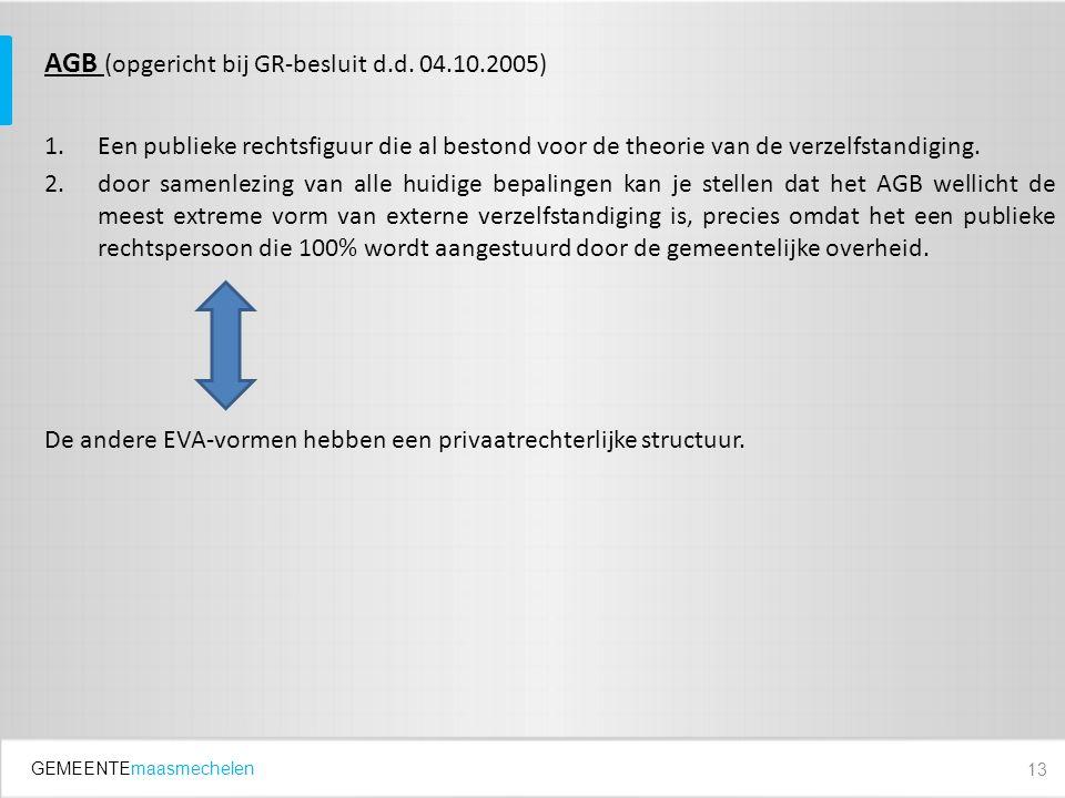 GEMEENTEmaasmechelen AGB (opgericht bij GR-besluit d.d. 04.10.2005) 1.Een publieke rechtsfiguur die al bestond voor de theorie van de verzelfstandigin