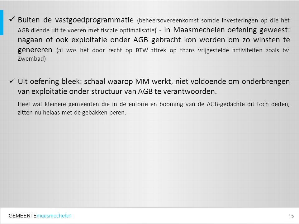 GEMEENTEmaasmechelen Buiten de vastgoedprogrammatie (beheersovereenkomst somde investeringen op die het AGB diende uit te voeren met fiscale optimalis