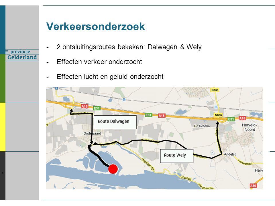 ` Verkeersonderzoek -2 ontsluitingsroutes bekeken: Dalwagen & Wely -Effecten verkeer onderzocht -Effecten lucht en geluid onderzocht