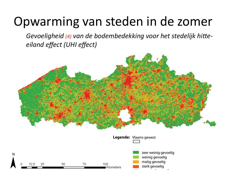 Opwarming van steden in de zomer