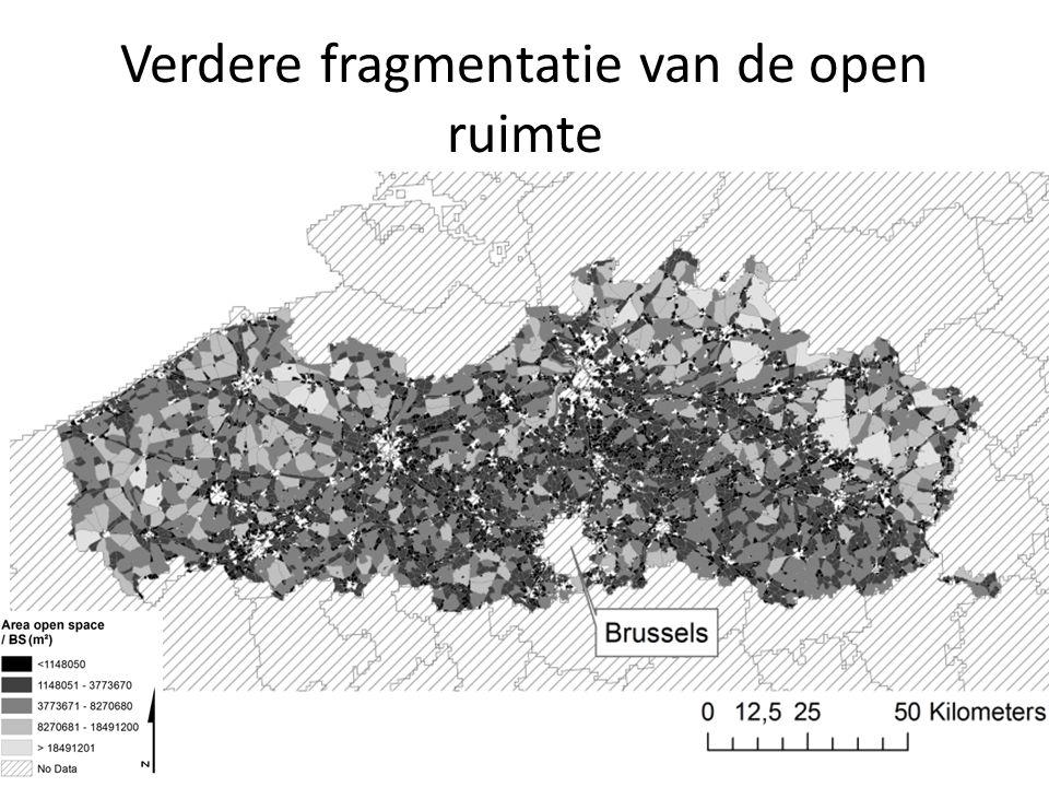 Verdere fragmentatie van de open ruimte