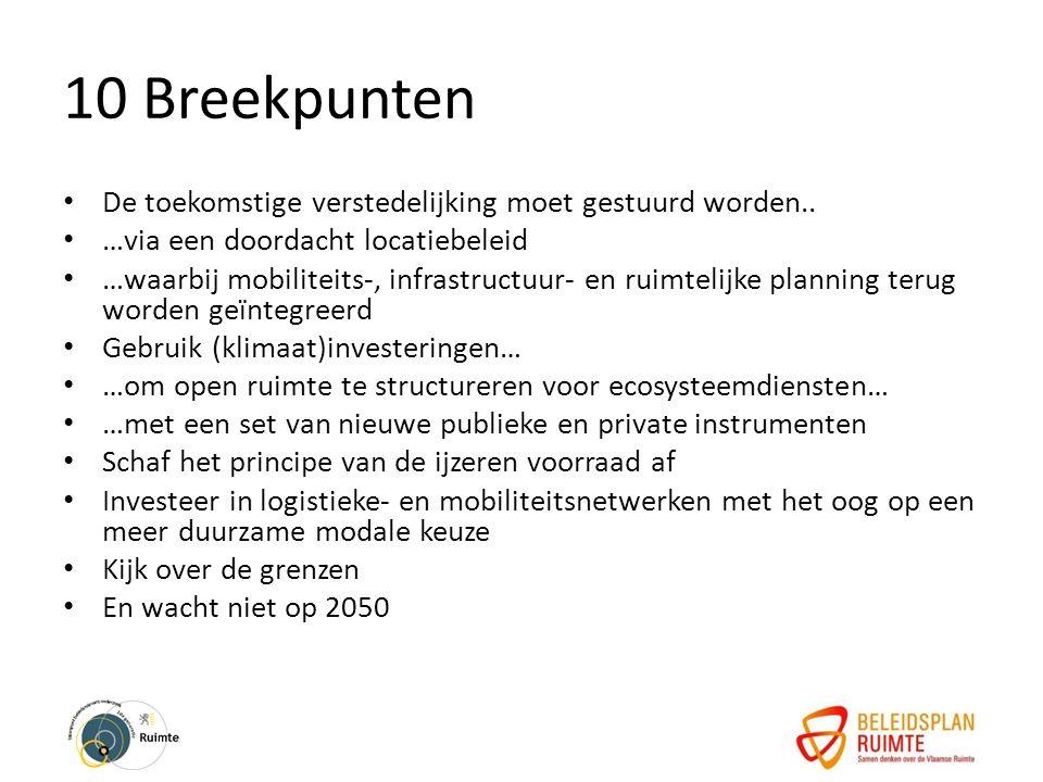 10 Breekpunten De toekomstige verstedelijking moet gestuurd worden..