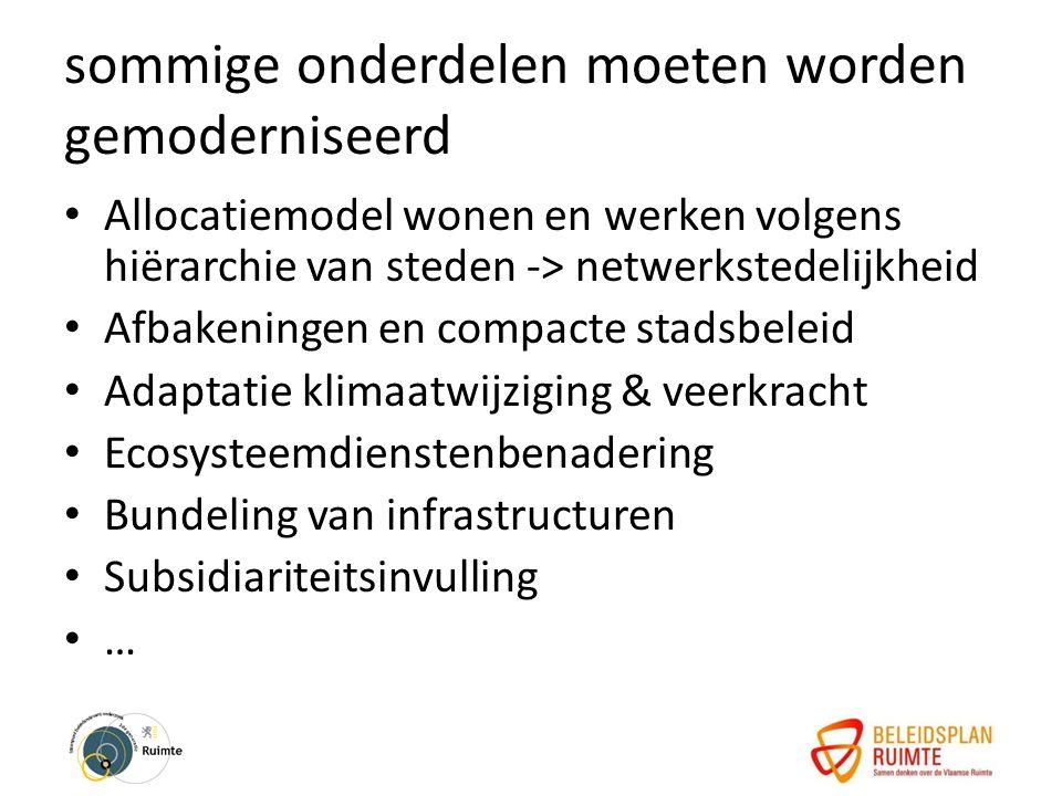 sommige onderdelen moeten worden gemoderniseerd Allocatiemodel wonen en werken volgens hiërarchie van steden -> netwerkstedelijkheid Afbakeningen en compacte stadsbeleid Adaptatie klimaatwijziging & veerkracht Ecosysteemdienstenbenadering Bundeling van infrastructuren Subsidiariteitsinvulling …