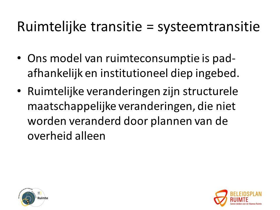 Ruimtelijke transitie = systeemtransitie Ons model van ruimteconsumptie is pad- afhankelijk en institutioneel diep ingebed.