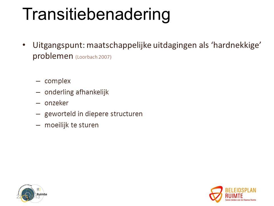 Transitiebenadering Uitgangspunt: maatschappelijke uitdagingen als 'hardnekkige' problemen (Loorbach 2007) – complex – onderling afhankelijk – onzeker – geworteld in diepere structuren – moeilijk te sturen 22-02-2013