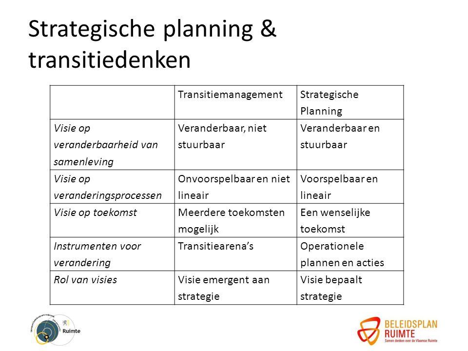 Strategische planning & transitiedenken10 Breekpunten Transitiemanagement Strategische Planning Visie op veranderbaarheid van samenleving Veranderbaar, niet stuurbaar Veranderbaar en stuurbaar Visie op veranderingsprocessen Onvoorspelbaar en niet lineair Voorspelbaar en lineair Visie op toekomst Meerdere toekomsten mogelijk Een wenselijke toekomst Instrumenten voor verandering Transitiearena's Operationele plannen en acties Rol van visiesVisie emergent aan strategie Visie bepaalt strategie