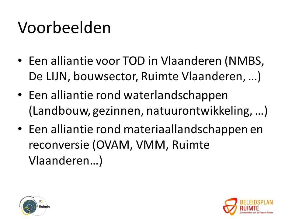 Voorbeelden Een alliantie voor TOD in Vlaanderen (NMBS, De LIJN, bouwsector, Ruimte Vlaanderen, …) Een alliantie rond waterlandschappen (Landbouw, gezinnen, natuurontwikkeling, …) Een alliantie rond materiaallandschappen en reconversie (OVAM, VMM, Ruimte Vlaanderen…)