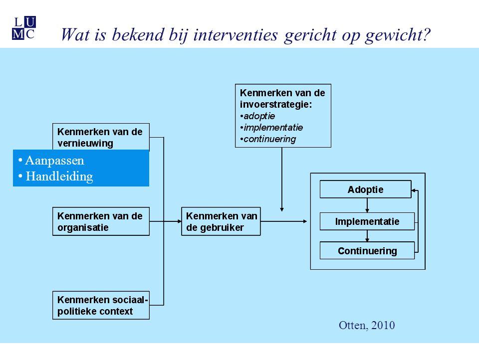 Wat is bekend bij interventies gericht op gewicht? Aanpassen Handleiding Otten, 2010