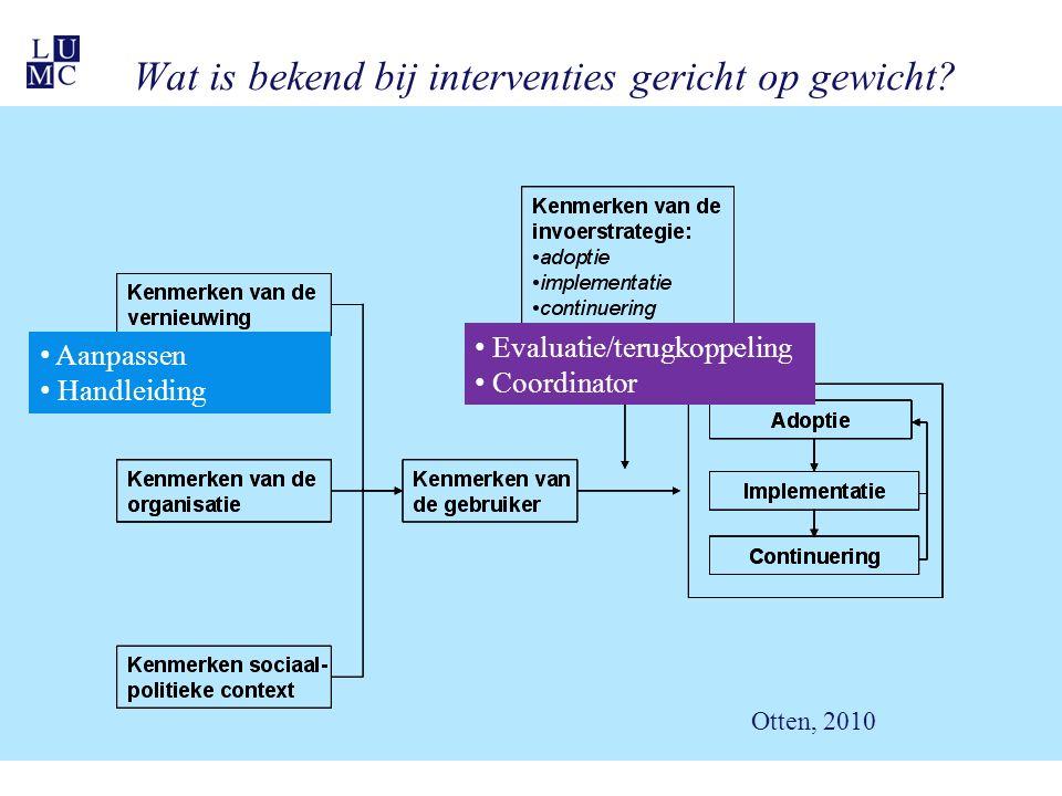 Aanpassen Handleiding Evaluatie/terugkoppeling Coordinator Wat is bekend bij interventies gericht op gewicht.