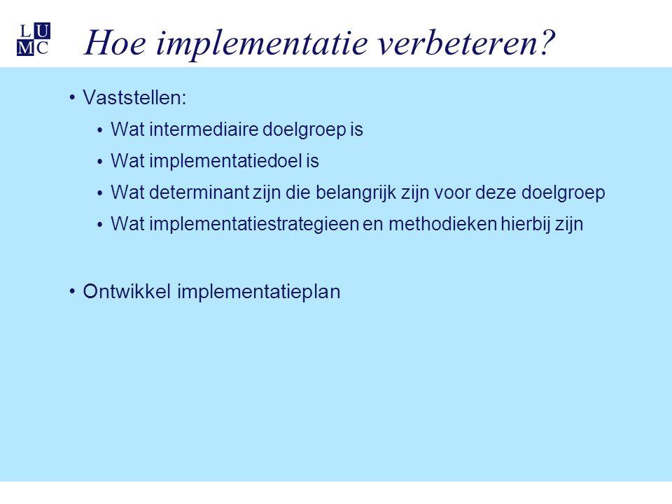 Hoe implementatie verbeteren.