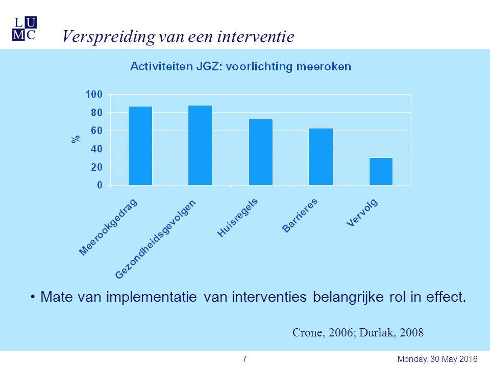 Verspreiding van een interventie Mate van implementatie van interventies belangrijke rol in effect.