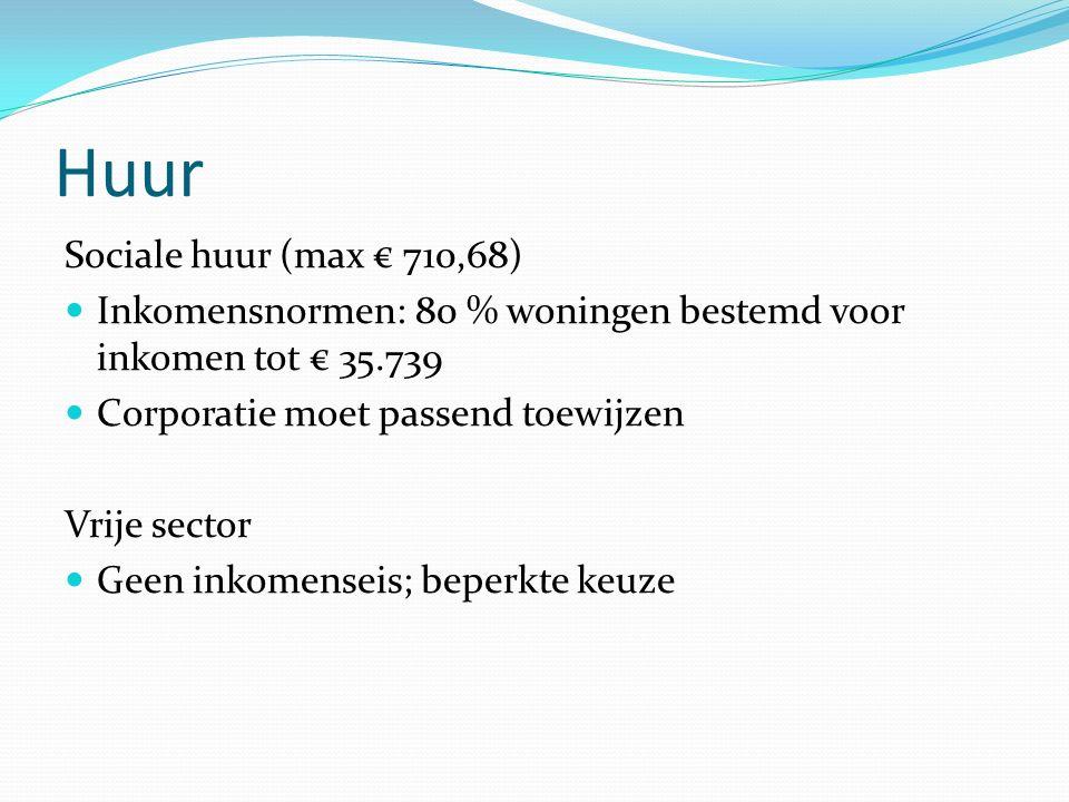 Huur Sociale huur (max € 710,68) Inkomensnormen: 80 % woningen bestemd voor inkomen tot € 35.739 Corporatie moet passend toewijzen Vrije sector Geen inkomenseis; beperkte keuze