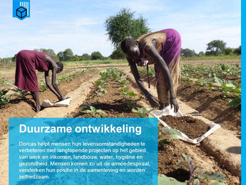 www.dorcas.nl Duurzame ontwikkeling Dorcas helpt mensen hun levensomstandigheden te verbeteren met langlopende projecten op het gebied van werk en inkomen, landbouw, water, hygiëne en gezondheid.