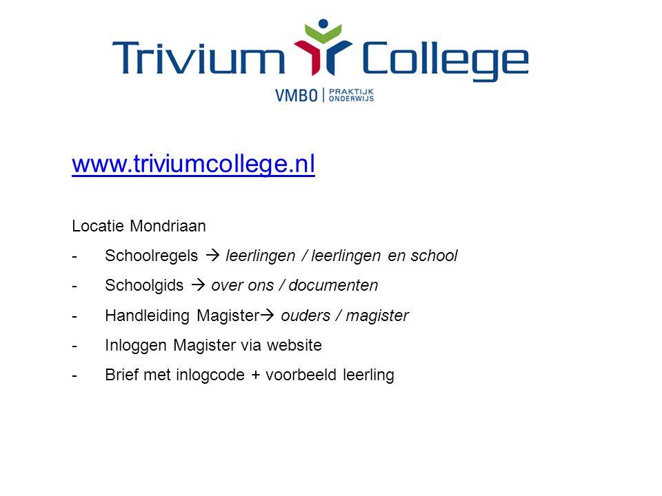 www.triviumcollege.nl Locatie Mondriaan -Schoolregels  leerlingen / leerlingen en school -Schoolgids  over ons / documenten -Handleiding Magister  ouders / magister -Inloggen Magister via website -Brief met inlogcode + voorbeeld leerling