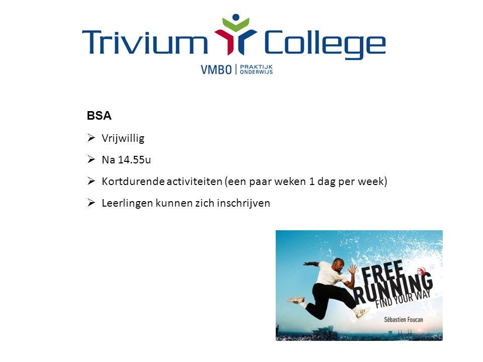 BSA  Vrijwillig  Na 14.55u  Kortdurende activiteiten (een paar weken 1 dag per week)  Leerlingen kunnen zich inschrijven