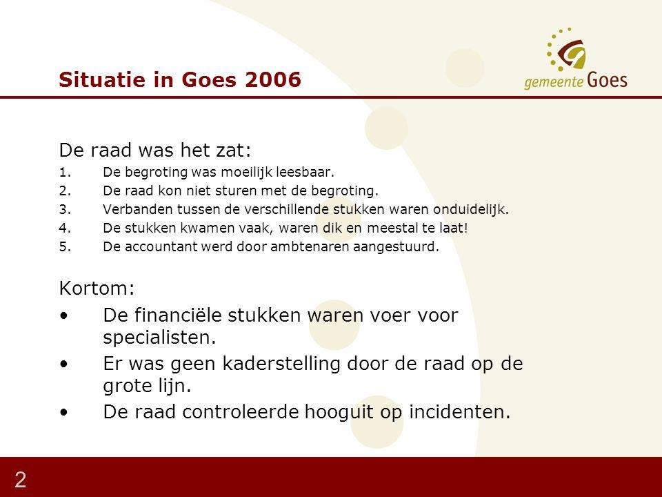 Situatie in Goes 2006 De raad was het zat: 1.De begroting was moeilijk leesbaar.