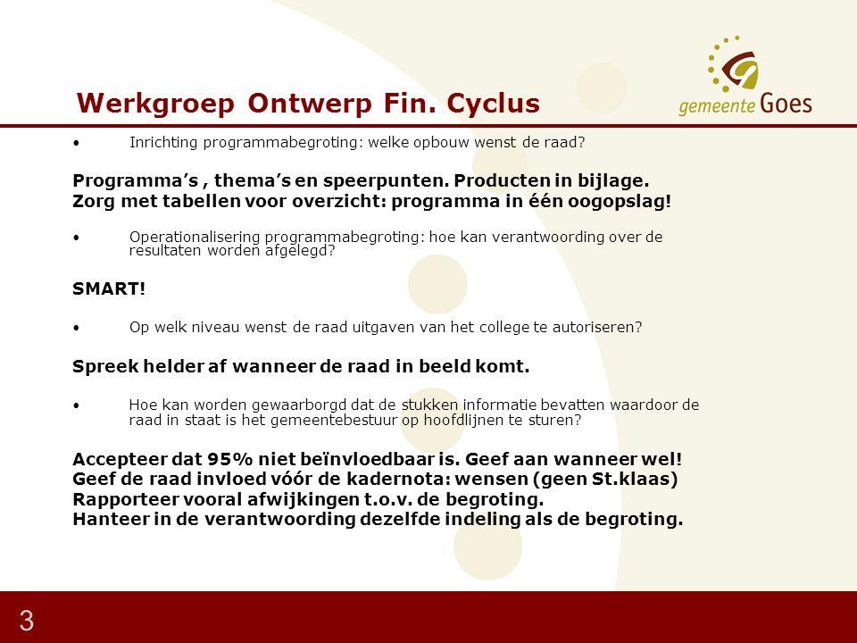 Werkgroep Ontwerp Fin. Cyclus Inrichting programmabegroting: welke opbouw wenst de raad.
