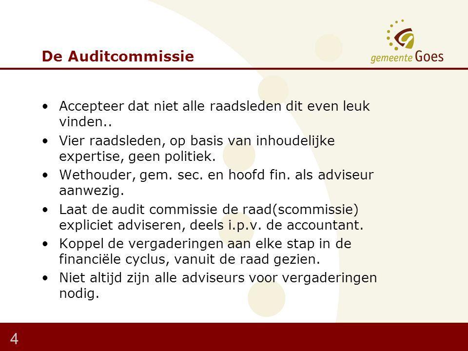 De Auditcommissie Accepteer dat niet alle raadsleden dit even leuk vinden..