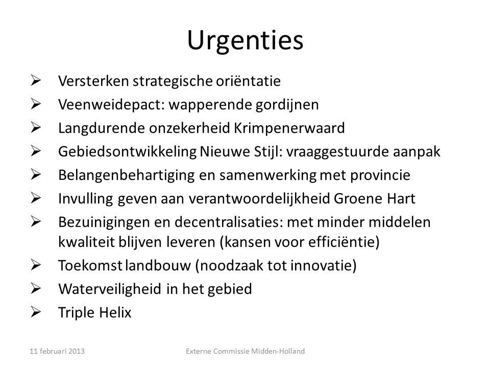 Urgenties  Versterken strategische oriëntatie  Veenweidepact: wapperende gordijnen  Langdurende onzekerheid Krimpenerwaard  Gebiedsontwikkeling Ni