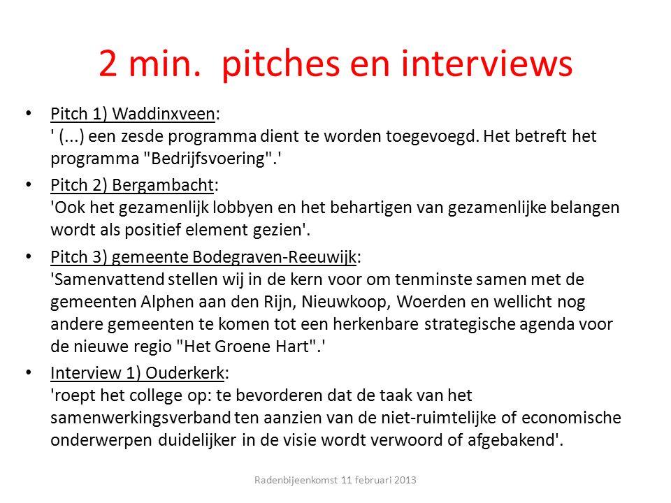 2 min. pitches en interviews Pitch 1) Waddinxveen: ' (...) een zesde programma dient te worden toegevoegd. Het betreft het programma
