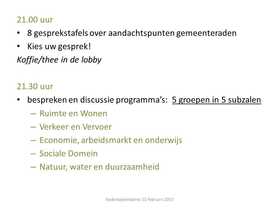 21.00 uur 8 gesprekstafels over aandachtspunten gemeenteraden Kies uw gesprek.