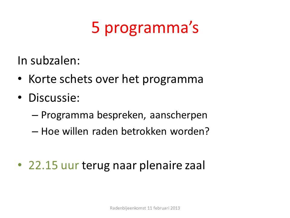 5 programma's In subzalen: Korte schets over het programma Discussie: – Programma bespreken, aanscherpen – Hoe willen raden betrokken worden? 22.15 uu