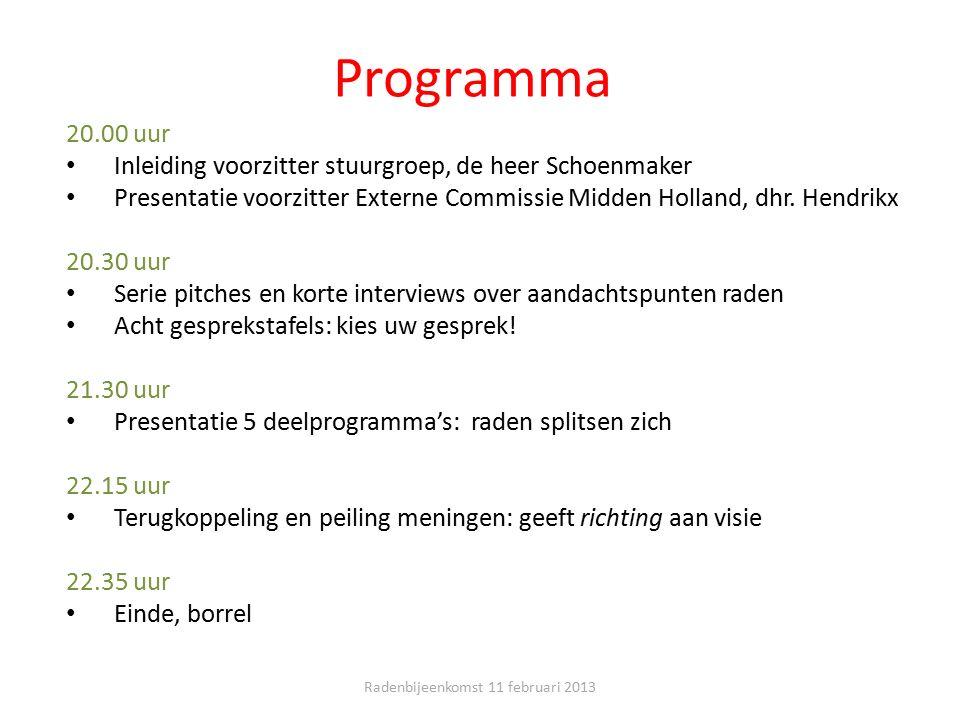 Programma 20.00 uur Inleiding voorzitter stuurgroep, de heer Schoenmaker Presentatie voorzitter Externe Commissie Midden Holland, dhr. Hendrikx 20.30