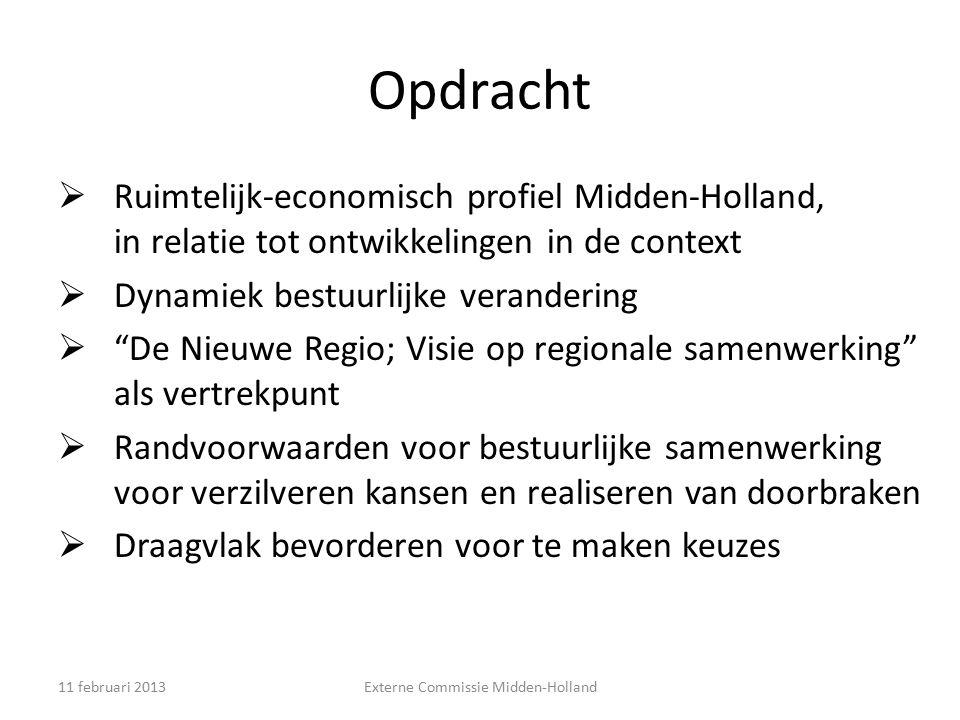 """Opdracht  Ruimtelijk-economisch profiel Midden-Holland, in relatie tot ontwikkelingen in de context  Dynamiek bestuurlijke verandering  """"De Nieuwe"""