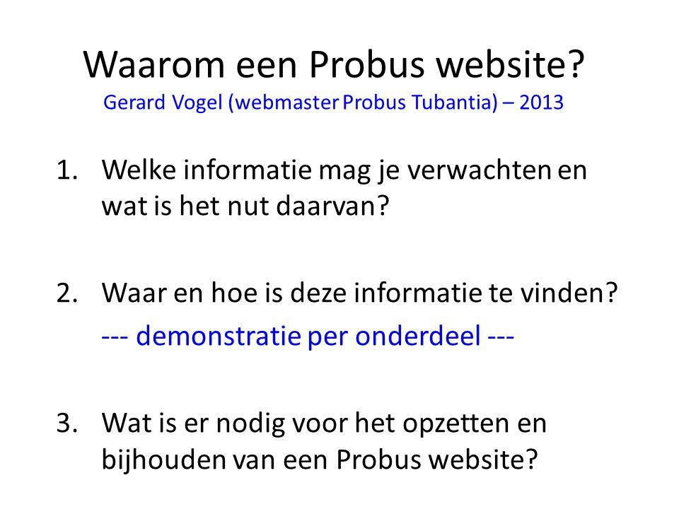 Waarom een Probus website.