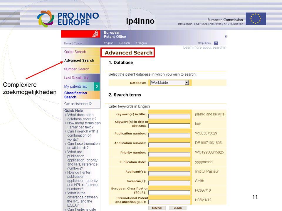ip4inno 11 Complexere zoekmogelijkheden