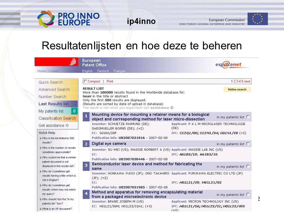 ip4inno 12 Resultatenlijsten en hoe deze te beheren