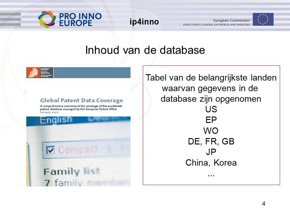 ip4inno 4 Inhoud van de database Tabel van de belangrijkste landen waarvan gegevens in de database zijn opgenomen US EP WO DE, FR, GB JP China, Korea...