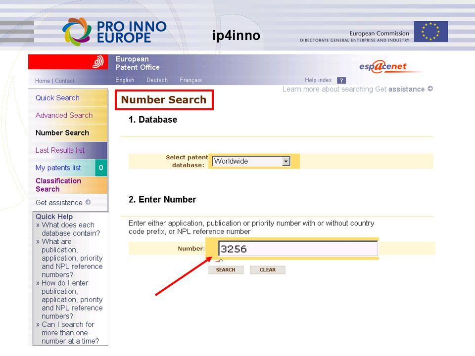 ip4inno 30 Help Help-bestanden Contextuele Help Helpdesk espacenet@epo.org Brochures