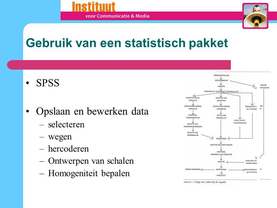 Gebruik van een statistisch pakket SPSS Opslaan en bewerken data –selecteren –wegen –hercoderen –Ontwerpen van schalen –Homogeniteit bepalen