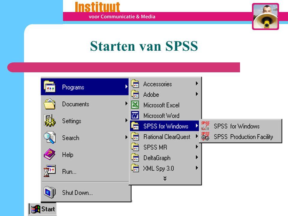 Praktisch gebruik van SPSS 1.Definiëren en invoeren van variabelen 2.Invoeren van ruwe data 3.Bewerken van gegevens 4.Weergeven/Presenteren van data : beschrijvende statistiek Grafieken 5.Statistische analyse 6.Output bekijken, interpreteren en opslaan
