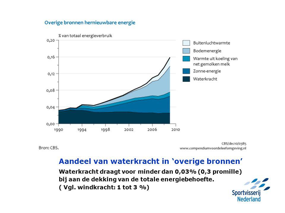 Aandeel van waterkracht in 'overige bronnen' Waterkracht draagt voor minder dan 0,03% (0,3 promille) bij aan de dekking van de totale energiebehoefte.