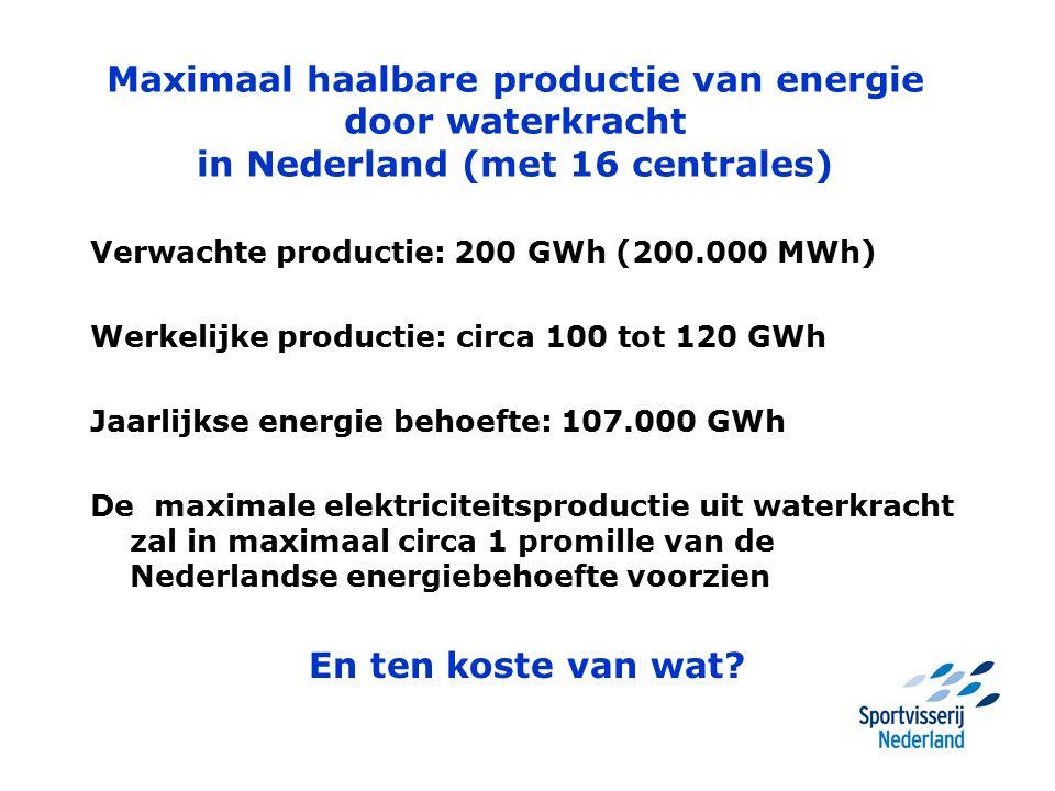 Maximaal haalbare productie van energie door waterkracht in Nederland (met 16 centrales) Verwachte productie: 200 GWh (200.000 MWh) Werkelijke productie: circa 100 tot 120 GWh Jaarlijkse energie behoefte: 107.000 GWh De maximale elektriciteitsproductie uit waterkracht zal in maximaal circa 1 promille van de Nederlandse energiebehoefte voorzien En ten koste van wat