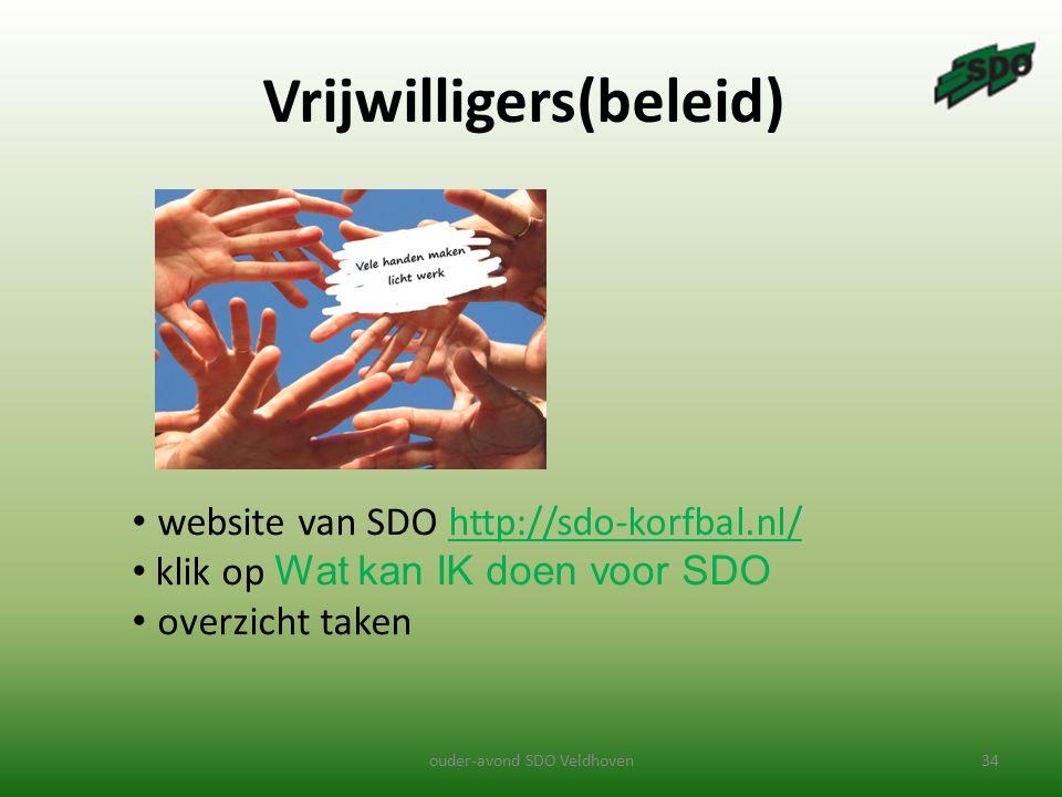Vrijwilligers(beleid) ouder-avond SDO Veldhoven34 website van SDO http://sdo-korfbal.nl/http://sdo-korfbal.nl/ klik op Wat kan IK doen voor SDO overzicht taken