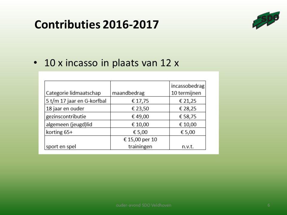 Contributies 2016-2017 10 x incasso in plaats van 12 x ouder-avond SDO Veldhoven6