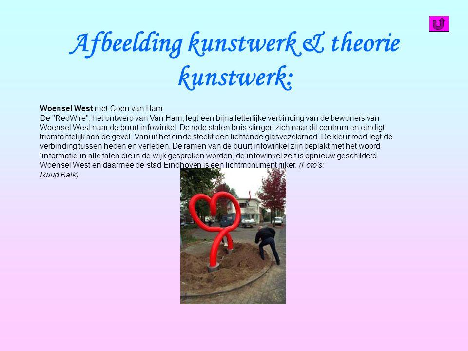 Afbeelding kunstwerk & theorie kunstwerk: Woensel West met Coen van Ham De RedWire , het ontwerp van Van Ham, legt een bijna letterlijke verbinding van de bewoners van Woensel West naar de buurt infowinkel.