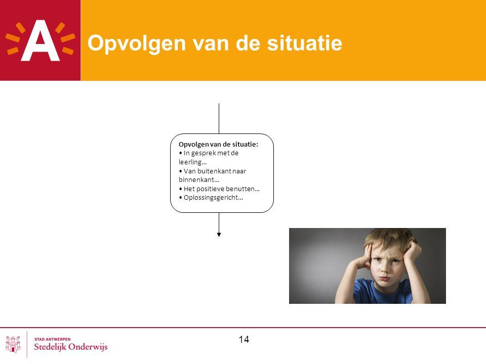 14 Opvolgen van de situatie Opvolgen van de situatie: In gesprek met de leerling… Van buitenkant naar binnenkant… Het positieve benutten… Oplossingsgericht…