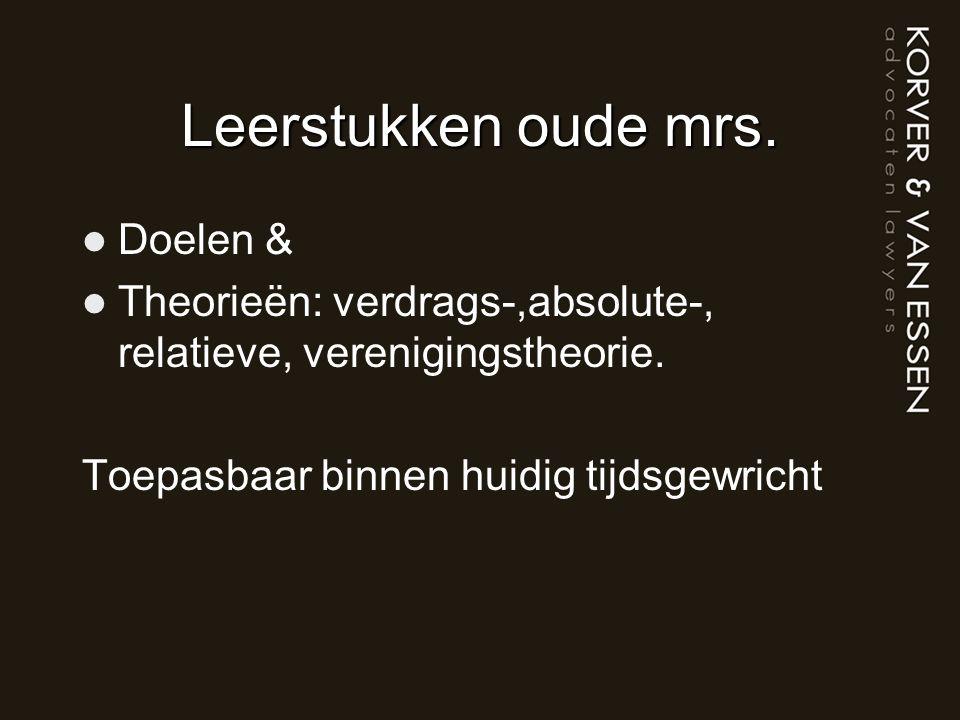 Leerstukken oude mrs. Doelen & Theorieën: verdrags-,absolute-, relatieve, verenigingstheorie.