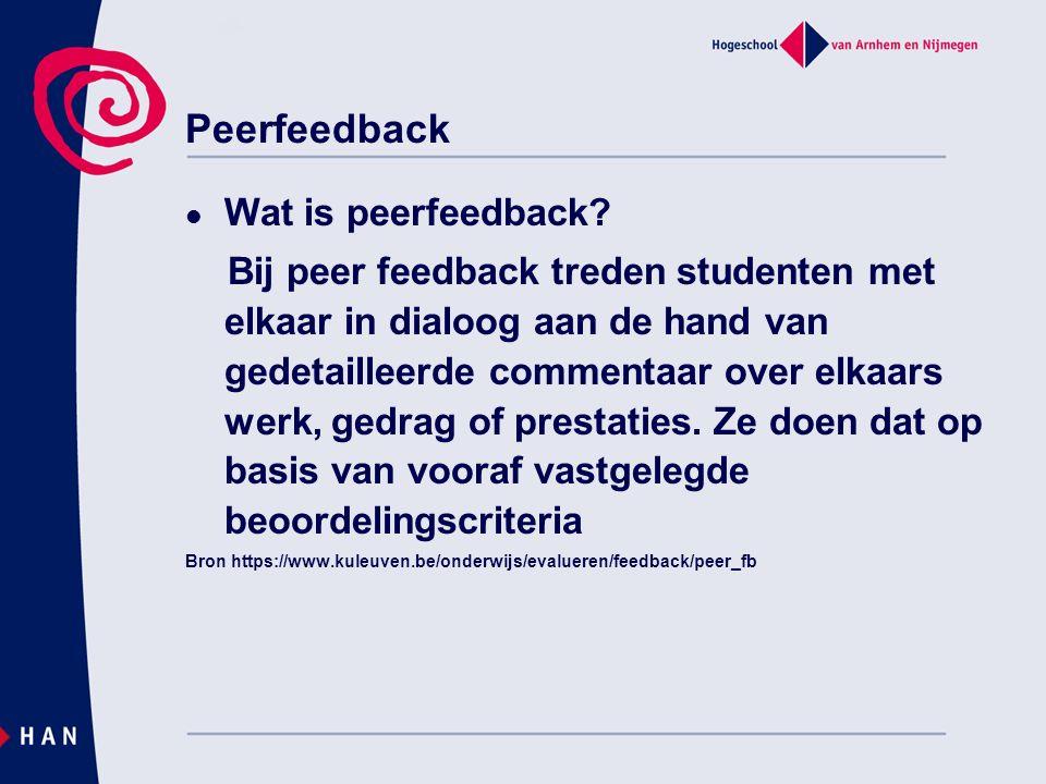 Peerfeedback Wat is peerfeedback.