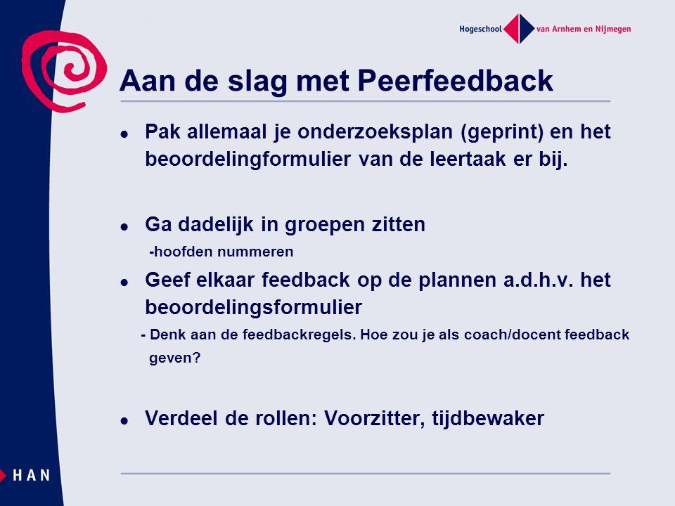 Aan de slag met Peerfeedback Pak allemaal je onderzoeksplan (geprint) en het beoordelingformulier van de leertaak er bij.