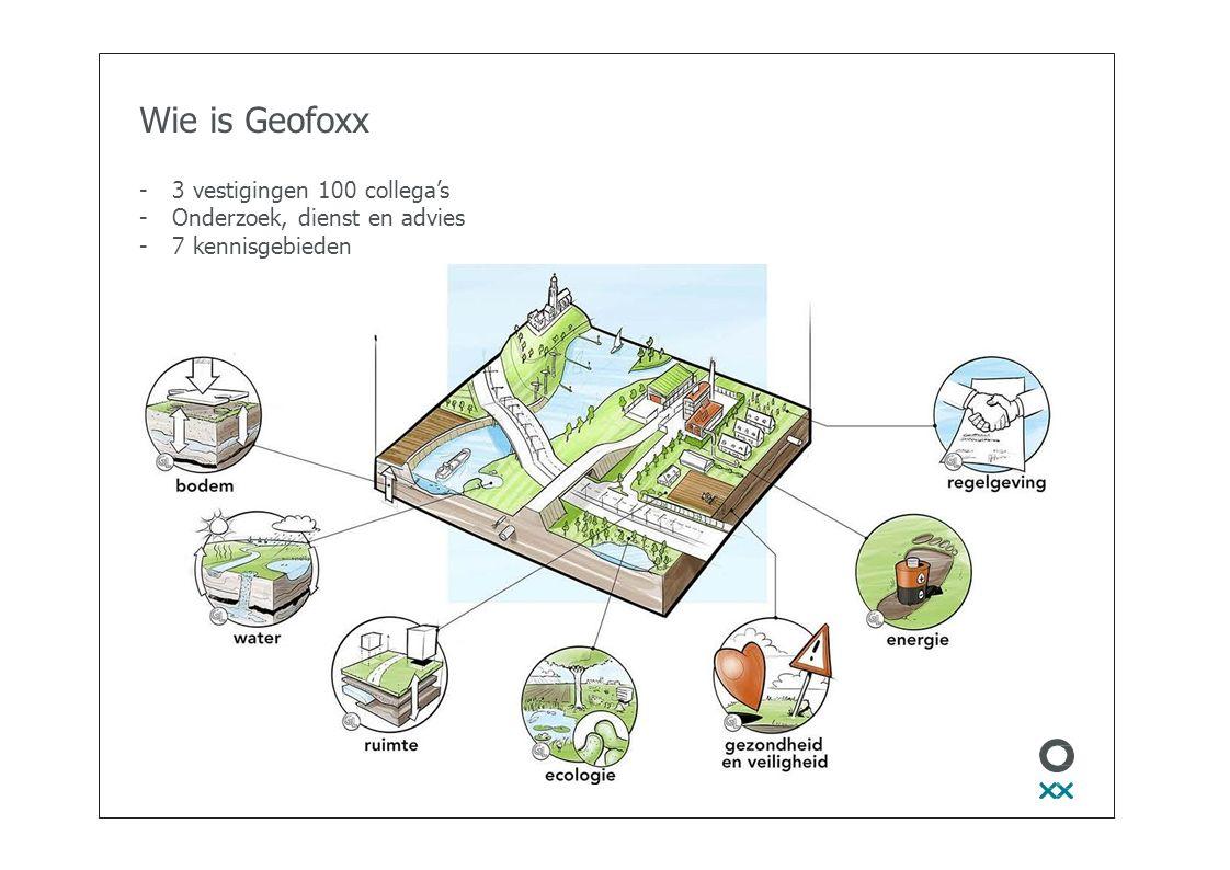 Wie is Geofoxx -3 vestigingen 100 collega's -Onderzoek, dienst en advies -7 kennisgebieden