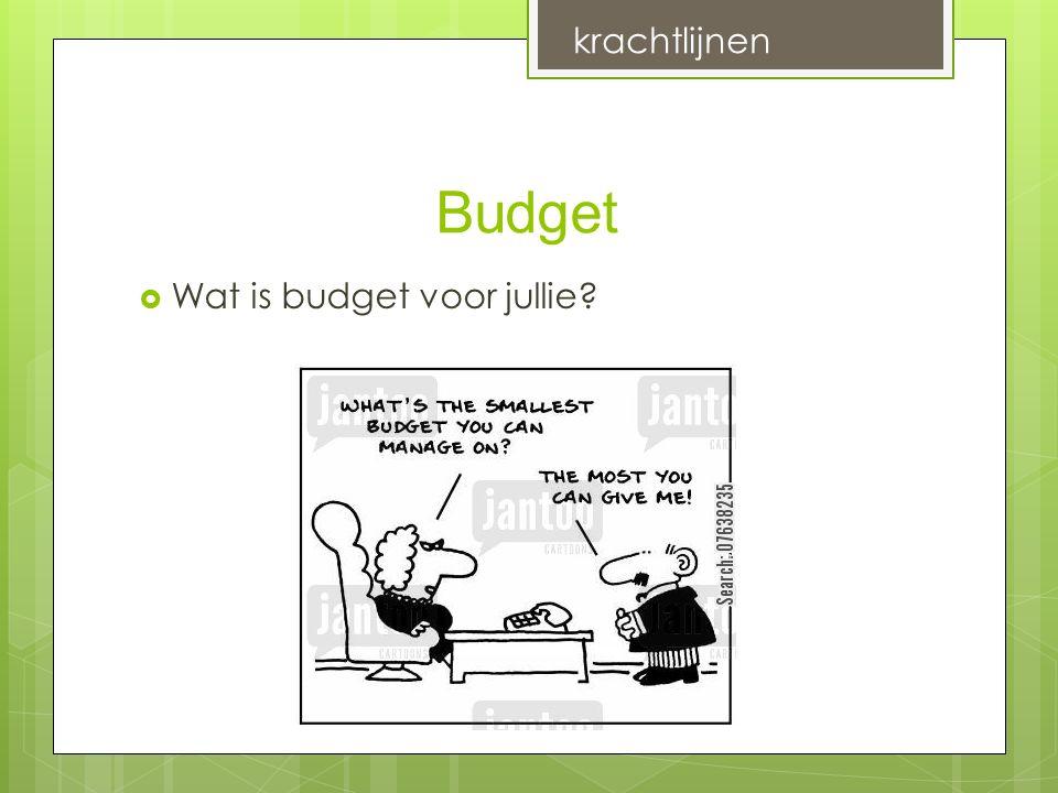 Budget  Wat is budget voor jullie? krachtlijnen