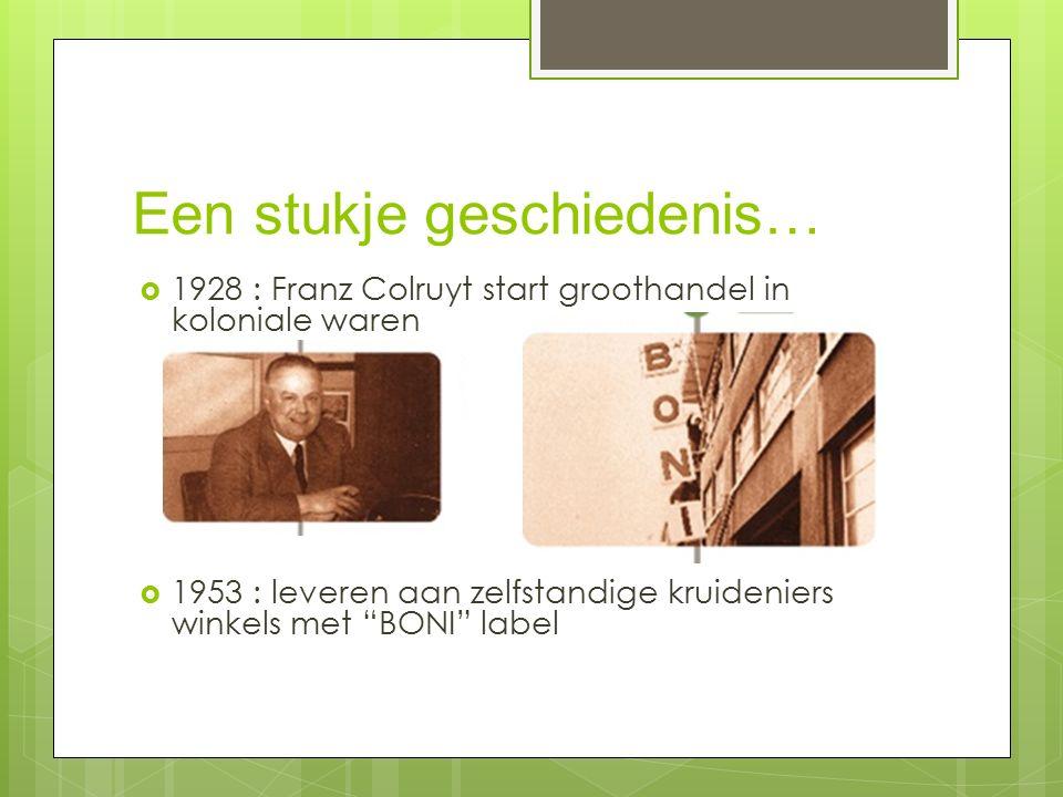 Een stukje geschiedenis…  1928 : Franz Colruyt start groothandel in koloniale waren  1953 : leveren aan zelfstandige kruideniers winkels met BONI label