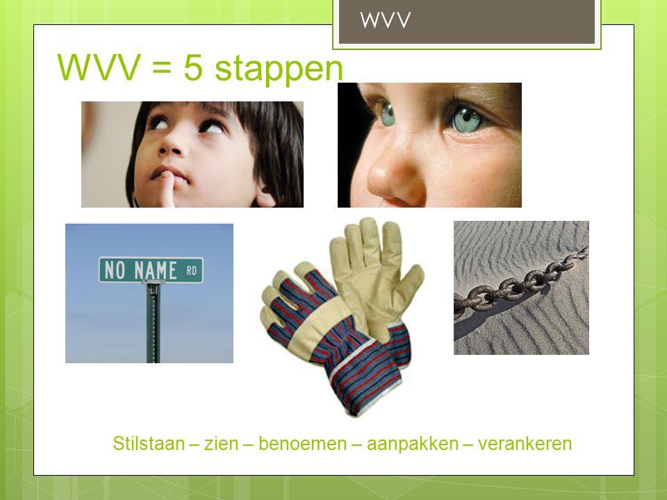 WVV = 5 stappen WVV Stilstaan – zien – benoemen – aanpakken – verankeren